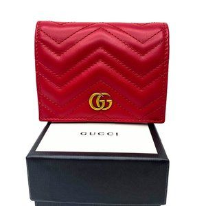 Gucci GG Marmont Hibiscus red card case wallet NWT